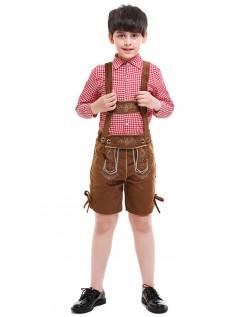 Unge Bayersk Oktoberfest Lederhosen Kostume Brun