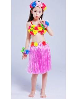 Hula Skørt til Børn Hawaii Kostume Lyserød Sæt 40cm
