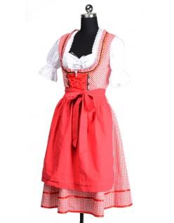 Plaid Oktoberfest Tyroler Kostume Kvinder Rød
