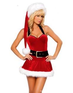 Sexy Hængende Hals Bare Tilbage Jul Kostume