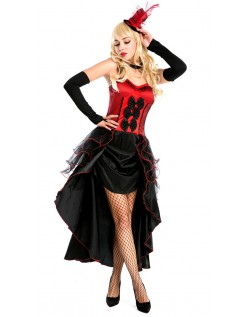 Rød Dåse Can Can Kjole Burlesque Kostume