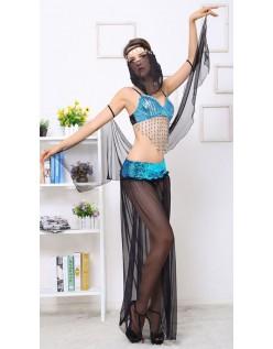 Blå Sequin Araber Mavedanser Kostume