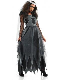 Sort Lang Halloween Zombie Brudekostume