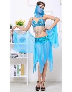 Blå Forførende Mavedanser Kostume