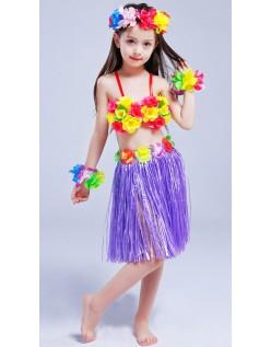 Hula Skørt til Børn Hawaii Kostume Lilla Sæt 40cm