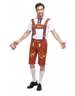 Bayersk Oktoberfest Lederhosen Kostume Gul