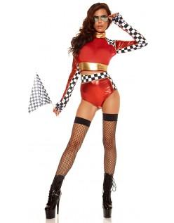 Hurtig Lane Sports Racerkører Kostume Rød