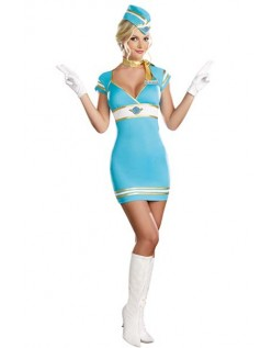 Frække Himmelblåt Flyvebarn Stewardess Kostume