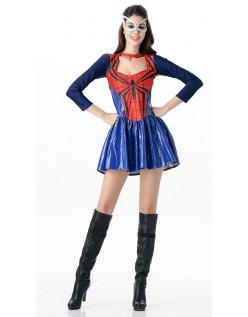 Frække Spidergirl Kostume Blå Rød