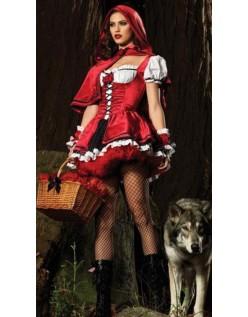 Deluxe Halloween Rødhætte Kostume