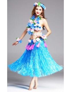 Hula Skørt Hawaii Kostume til Kvinder Blå Sæt 80cm
