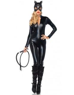 Våd Look Lynlås Foran Catwoman Kostume