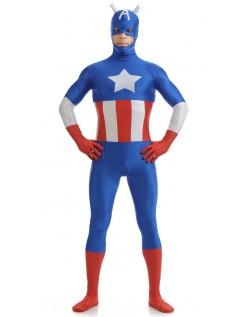 Lycra Spandex Captain America Kostume Sort