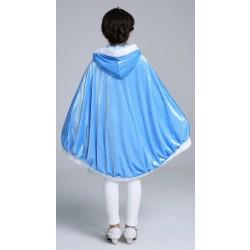 Blå Elsa Frost Kjole til Børn Kappe Med Hætte Lang