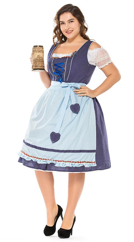 01743434452d Vintage Tyroler Kostume Store Størrelser Dirndl Heidi Kjole